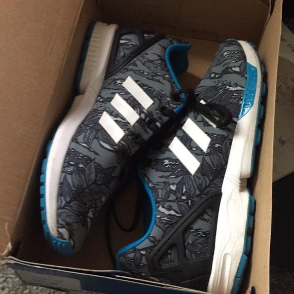 photos officielles 185d7 e0943 adidas zx flux k blue/black/white size 6y